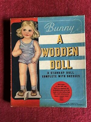 """Vintage Standing """"Wooden Doll"""" with paper clothes"""