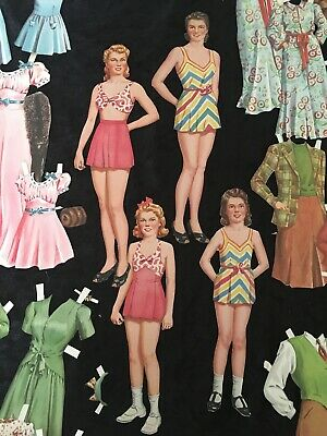 VINTAGE CUT 1940's MOTHER DAUGHTER PAPER DOLLS ~ 2 PAIRS ~ 50 Pieces