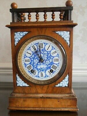 winterhalder hofmeier oak gallery top mantel clock circa 1880 enamel face