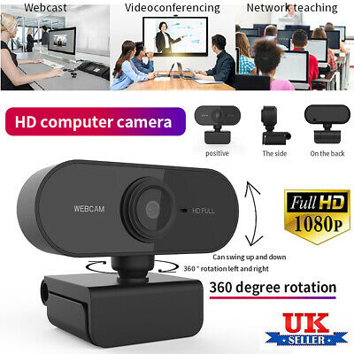 Clip-On HD 1080P Webcam With Microphone USB For PC Desktop Laptop NEW UK Stock