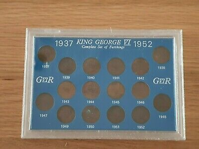 King George VI Farthings, 16 Coins From 1937-1952.