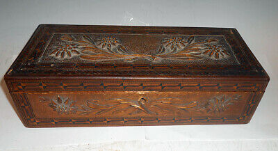 Antique Hand Carved & Inlaid Italian Folk Art Box