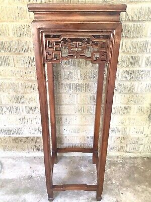 Old Chinese Huanghuali Carved Double Dragon Motif Pedestal Plant Incense Stand