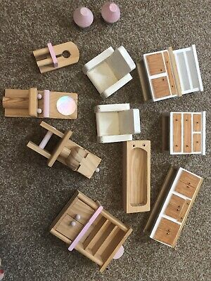 Wooden dolls house furniture bundle With Pink Trim