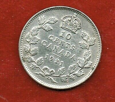 Canada Ten Cents 1921  George V   ..Silver 92.5.%  Mintage 2,489,562