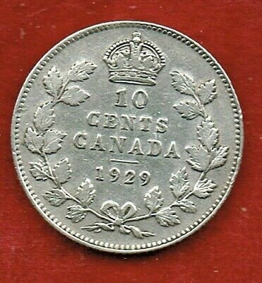 Canada Ten Cents 1929  George V   ..Silver 92.5.%  Mintage 3,253,888