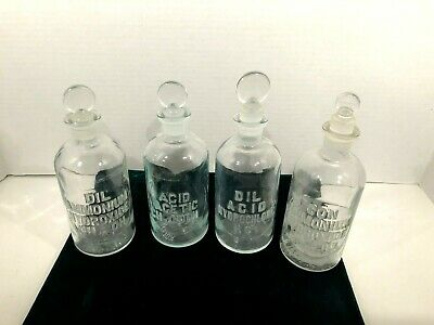 ANTIQUE SET of 4 DRUG STORE PHARMACY APOTHECARY JARS BOTTLES with STOPPERS