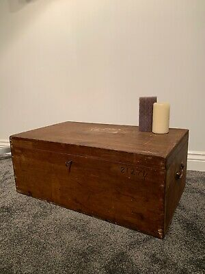 Antique Pine Lockable Deed Box-coffee Table-toy-storage Trunk-chest-vintage