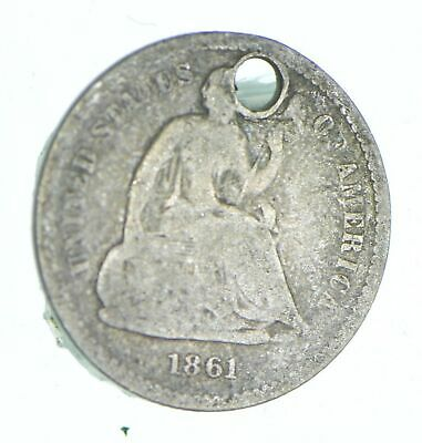 1861 Seated Liberty Half Dime - Holed Coin Collection *821
