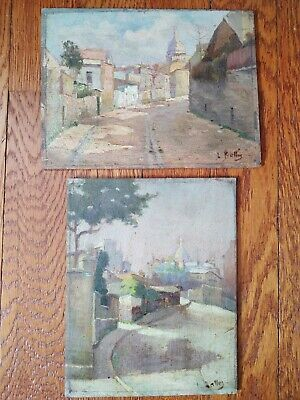 Two small 19th century Paris French Oil Paintings on Wood by Louis Battin
