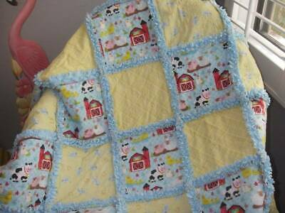 Boutique Baby Boy Rag Quilt~Hand Made ~ Down on the Farm ~