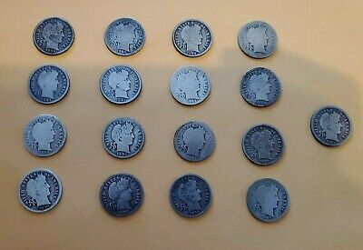 Silver Barber Dimes lot of 17