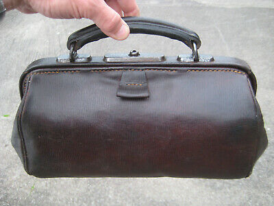 Beautiful small DOCTOR BAG, Antique leather VALISE, old MEDICAL BAG - GENUINE !!