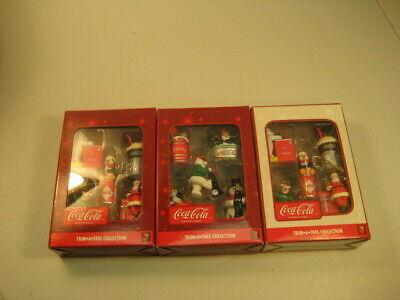 """Collectible Coca Cola Christmas Ornaments """"Trim A Tree""""Collection Lot of 4 Boxes"""