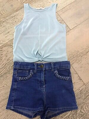 Girls Denim Stretch Shorts And Vest Top Age 10 Years From Matalan