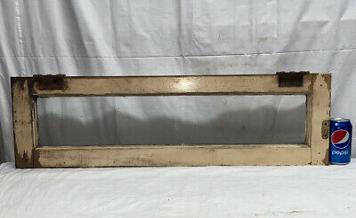 Vtg ANTIQUE Over Door Window Sash Farm Country Cottage 30x6 Frame WAVY GLASS