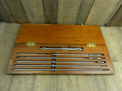 Vintage Starrett Inside Micrometer Tool Kit Set USA Wooden Case Depth Gauge