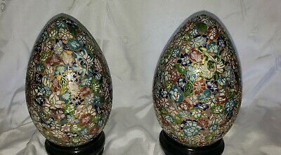 "2 Vintage Beautiful, Colorful Cloisonne Eggs, 7.5"" Tall,  With Stands"