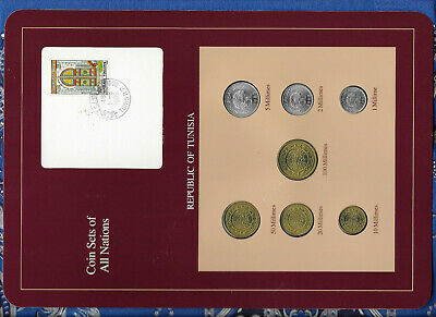 Coin Sets of All Nations Tunisia UNC 5,20,50,100 Millimes 1983 1,2,10 1960