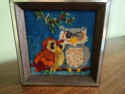 Vintage Retro Needlepoint Winking Owls on Branch Hanging Wall Art Framed