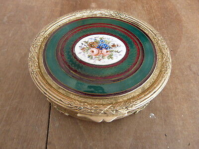 Antique French Enamel Floral and Gold Gilt Pill/Keepsake Box