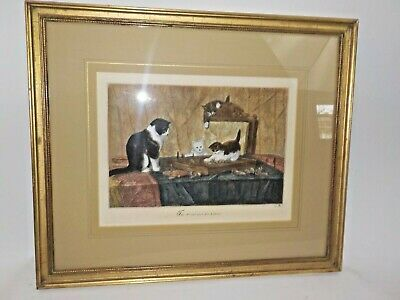 Antique Kitty Cat Etching Framed Vintage She Cat and her Kittens Signed Matted E
