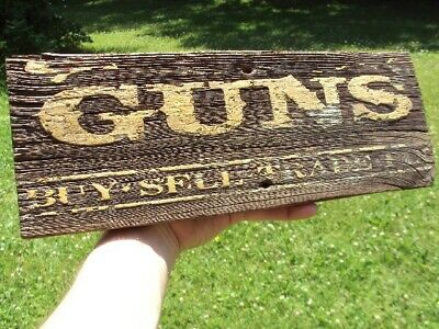 Early Guns Wood Trade Sign Western Antique Advertising Saloon Badge Tin Type OLD