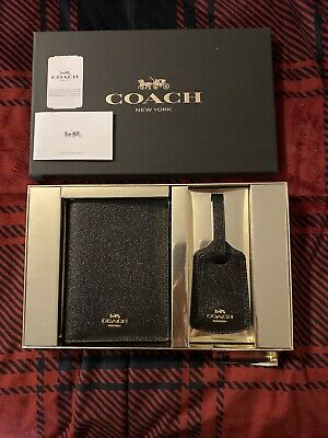 Coach Boxed Travel Set - Leather Passport Holder and Luggage Tag - New With Tags