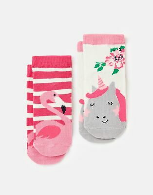 Joules Baby Girls Neat Feet 2 Pack Character Socks - MULTI FLAMINGO UNICORN