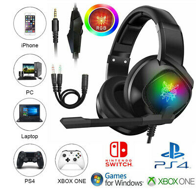 3.5mm Gaming Headset MIC PS4 Headphones for PlayStation 4 Pro Slim Xbox PC K19 ☊