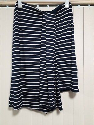 Max Soft Stretchy Skirt Size 14 Navy Striped Lined Elastic Waist