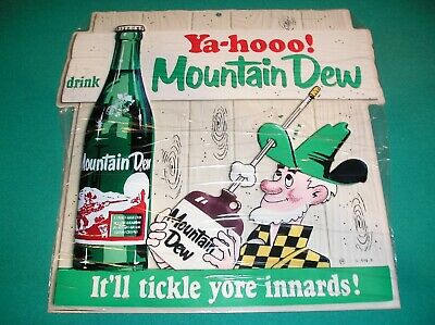 MOUNTAIN DEW HEAVY METAL DIE CUT 14 x 14 INCH ADVERTISING SIGN - NEW - YAHOOO!!!