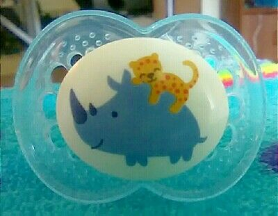 MODIFIED Mam Cheetah Hugging Rhino Pacifier With Adult Sized LFB Nipple ABDL