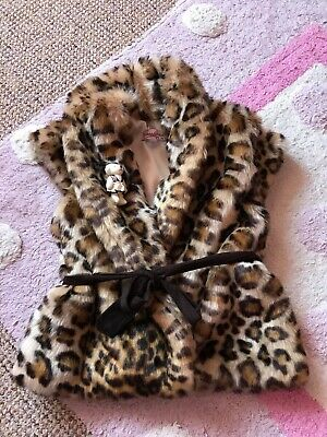 Girls CocoLand Leopard Print Faux Fur Gillet Jacket Age 5 & Matching top Spanish