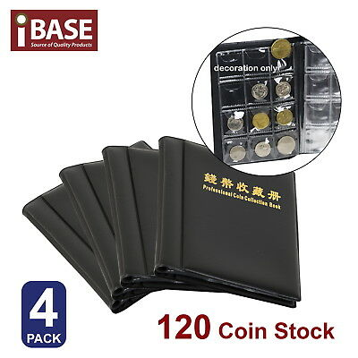 4X Coin Album Holder Storage Collection Collecting Stock Pocket Penny Book 120