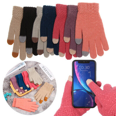 Elastic Soft Knitted Gloves Touch Screen  Mittens Full Finger Thicken Warm