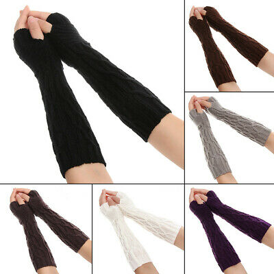 Soft Winter Arm Warmers Fingerless  Mittens Long Knitted Gloves Candy Color