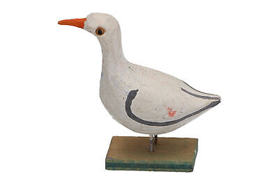 A small hand carved wooden seagull Scandinavian Folk Art sculpture Vintage
