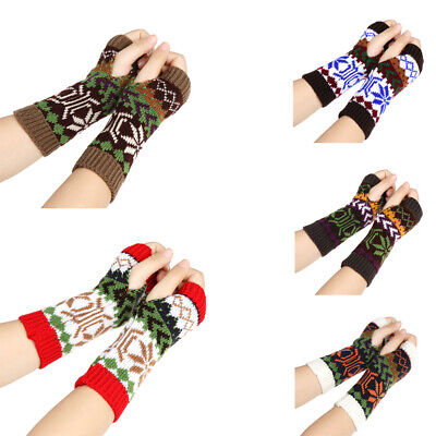 Winter Thick Warm Snowflake Arm Warmers Fingerless Mittens Long Knitted Gloves
