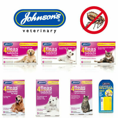 JOHNSONS 4 FLEAS TABLETS for LARGE DOG  CAT PUPPY 6 TREATMENT PACK KILLS FLEA