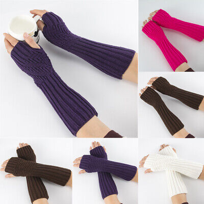 Thick Warm Soft Fingerless  Mittens Long Knitted Gloves Arm Warmers Candy Color