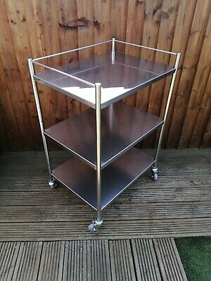 Medical First Aid Room Drinks Three Tier Trolley Stainless Steel Twin Cart