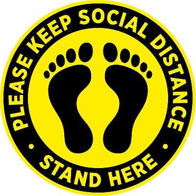2 Meters Please Stand Here Social Distance Stickers Pack of 10