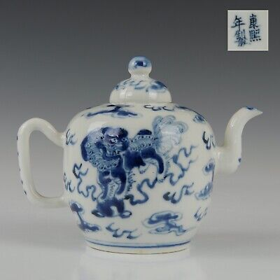 Nice Chinese B&W porcelain teapot, Qilins, 19th ct. marked Kangxi.