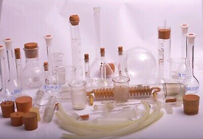 Large Amount Of Lab Equipment - Test Tubes / Flasks / Rubber Bungs Etc