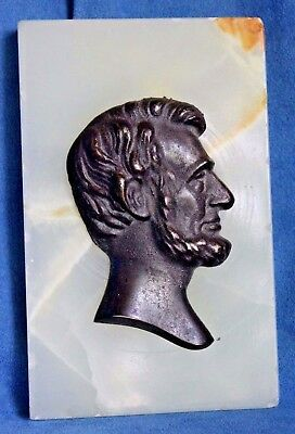 President Abraham LINCOLN Bronze Or Cast Iron Antique Art Deco Alabaster Plaque
