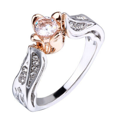 USA Women Rhinestone Birthstone Ring Cross Flower Rings Rose Gold Jewelry Gifts