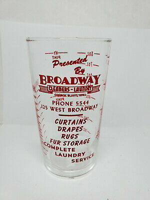 Vintage advertising measuring glass - Broadway Cleaners - Laundry (1278)