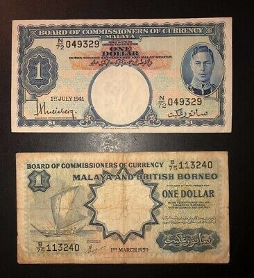 1941 (ND 1945)  Malaya (P-11) One Dollar and (1959) British Borneo 1 Dollar P-8
