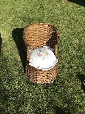 Vintage small Children's peacock wicker chair with cushion, retro, boho, 1970's
